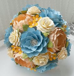 Paper Flower Bouquet - Shades of Blue and Peach with a touch of Orange. Designed by Anna Fearer