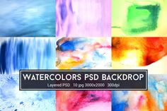Watercolors PSD Backdrop @creativework247