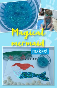 Make a splash with these magical mermaid makes. Find out how to make glitter slime, a crown of shells and mermaids' toys, which are sure to be big hits with your little mermaids! Glittery Slime, How To Make Glitter, Easy Crafts For Kids, The Little Mermaid, Mermaids, Little Ones, Activities For Kids, Shells, Crown