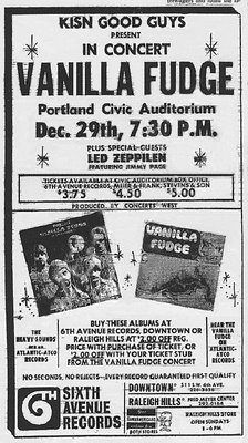"VANILLA FUDGE, ""plus special guests Led Zeppilen.""  Really."