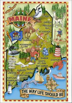 Visit Maine, and don't forget to stop by Aroostook County during your trip! Vintage Travel Posters, Vintage Postcards, Rafting, Moving To Maine, Visit Maine, New England States, State Map, City State, Travel Usa