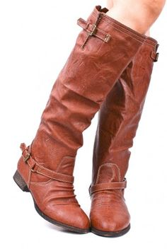 RUSTY FAUX LEATHER BUCKLE CONTRAST KNEE HIGH RIDER BOOTS