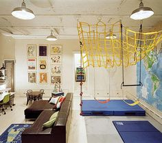gymnastic themed interactive playroom - and my friends think I am crazy for having just a swing in Serenity's playroom