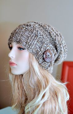 Slouchy Beanie Slouch Hat Button Knit Crochet Winter by lucymir