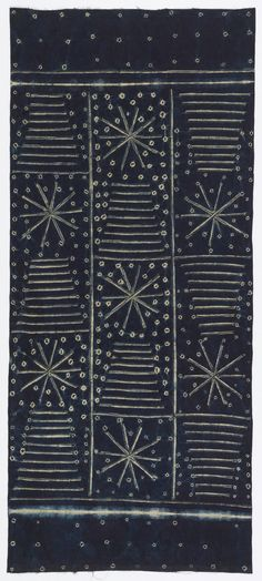 Adire Wrapper, ca. 1960.  Indigo dyed cotton patterned with tied and stitched resist.