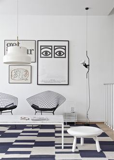 I have two of these Harry Bertoia diamond chairs in my house. Mine are black metal frames with red upholstery. Found on Scandinavian Retreat