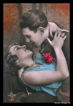 Deliriously Happy Flapper Couple tinted postcard