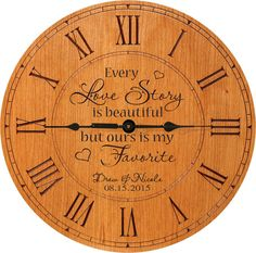 LifeSong Milestones Wedding wall Clock or Custom Personalized wedding anniversary housewarming gift All because two people fell in Love (Cherry) Anniversary Clock, Anniversary Gifts For Couples, Anniversary Ideas, Parents Anniversary, Paper Anniversary, Wall Clock Gift, Wall Clocks, Wedding Gifts For Parents, Personalized Mother's Day Gifts