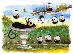 Original watercolor painting art whimsical Stressie Cat bird bath crow chameleon #Folkartillustration
