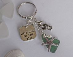 Sea glass keychain. Beach glass keyring. by SeaGlassJewelryEtsy