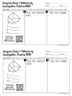 Free surface area of triangular pyramids practice worksheet volume worksheets, geometry worksheets, year 10 Volume Worksheets, Area Worksheets, Geometry Worksheets, Geometry Activities, Teaching Math, Maths, Teaching Geometry, Math Teacher, Triangular Prism