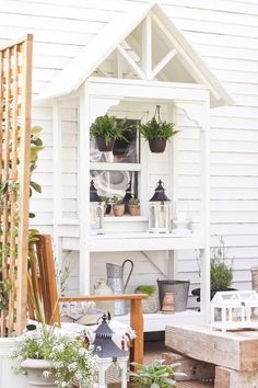 A boring, bare patio turned into a gorgeous outdoor entertaining area! See the incredible before and after of this beautiful summer patio makeover!{Want to have this over & around the deck window, so cool}} Outdoor Pergola, Diy Pergola, Outdoor Rooms, Outdoor Gardens, Outdoor Living, Outdoor Decor, Outdoor Patios, Pergola Ideas, Corner Pergola