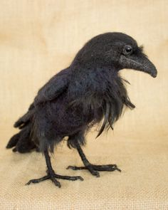 Needle Felted Raven. Roscoe the raven: needle felted animal sculpture by the woolen wagon | handmade + collectibles
