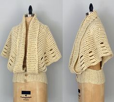 70s crochet cape jacket  unique bohemian ecru by thefrippery, $148.00