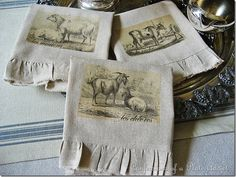 diy vintage looking french tea towels with osnaburg fabric