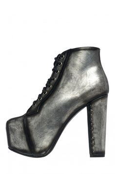 LITA-MH from Jeffrey Campbell Shoes.  I love the brushed metal look