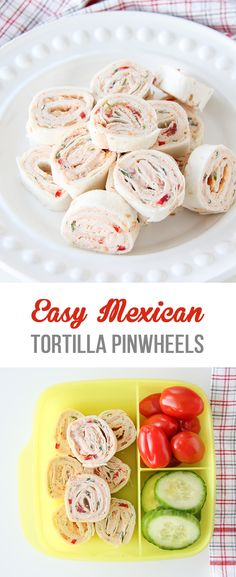 These Easy Mexican Tortilla Pinwheels are great served as an appetizer or for lunch! Delicious, flavourful little bites…with cream cheese, taco spice, peppers, onions, cilantro, salsa and cheese! So good.