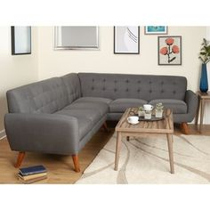 Simple Living Livingston Mid-Century Sectional Sofa - Free Shipping Today - Overstock.com - 20932824 - Mobile