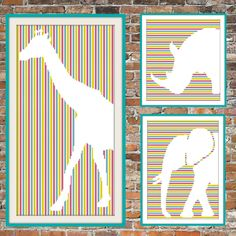 This is quite a versatile pattern in that the colors are all interchangeable. The picture shows a rather kid friendly version but the colors could be changed for maybe, grey tones, very light tones or just one color. Lots and lots of possibilities with this pattern! Your fabric is the background and will be the shape of the giraffe so a lovely linen would be gorgeous! The stitch count for Giraffe on Stripes is 105 x 205. This is a companion piece to Elephant on Stripes and Rhino on Stripes…