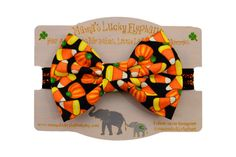 Halloween Fabric Bow Headband, Fabric Bow Clip-on || Candy Corn and Pumpkins on Black and Orange Sparkle Elastic Band or Clip Mounted by mamasluckyelephant on Etsy