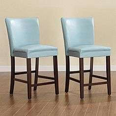 @Overstock - Add a dose of contemporary sophistication to your dining area with a pair of elegant counter height chairs from Estonia. These Parson barstools features sky blue faux leather seats and solid construction.http://www.overstock.com/Home-Garden/Estonia-Parson-Sky-Blue-Barstools-Set-of-2/5171778/product.html?CID=214117 $207.89