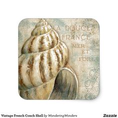 Vintage French Conch Shell Square Stickers (x2)