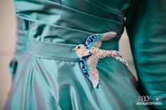 Teal wedding dress with sequin swallow belt. Created by The Couture Company, Birmingham, photo by Jay Mountford Photography. love the swallow belt