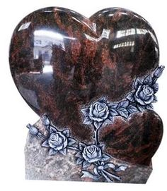Heart Headstone With Rose Craving Design For Tombstone Cemetery Monuments, Cemetery Headstones, Cemetery Art, Unusual Headstones, Grave Decorations, Sympathy Flowers, Danse Macabre, Stone Sculpture, Great Memories