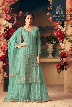 Dull Pink Designer Heavy Embroidered Net Sharara Suit - Fabric Only Sharara Designs, Kurti Designs Party Wear, Designer Salwar Kameez, Designer Kurtis, Indian Salwar Kameez, Mode Bollywood, Bollywood Fashion, Bollywood Style, Indian Designer Outfits