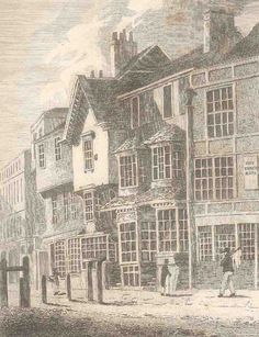 589. Timber-framed buildings on the site of Nos 29–37 Islington High Street, drawn by T. H. Shepherd, c. 1820. On the right is the Three Hats. From the Gentleman's Magazine, vol. xciii, pt 2, 1823, p. 113, courtesy LMA (SC/PZ/FI/01/275)
