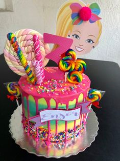 Jojo Siwa Cake Topper, Jojo Siwa Birthday Party, Jojo Siwa Party name Jojo Siwa Birthday Cake, Barbie Birthday Cake, Birthday Cake Girls, Barbie Cake, 7th Birthday, Women Birthday, Fete Shopkins, Torta Candy, 5th Birthday Party Ideas