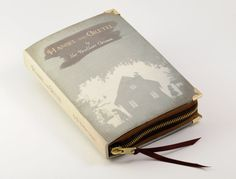 Brothers Grimm Hansel and Gretel Book Clutch. Prints a cover image on fabric, then binds an old book cover with it. So no ruining books!