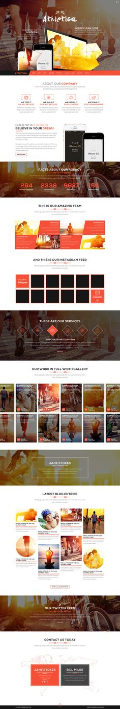 Athletica - Retina Parallax OnePage WP Shop Theme by AVAThemes, via Behance