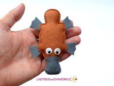 Felt PLATYPUS stuffed felt Platypus magnet or ornament cute