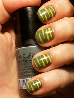 Scotch tape nails grey yellow