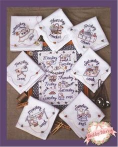 Cute Days of the Week patterns for tea towels or dish cloths