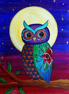 Full Moon Owl by Kimberly Leahey Dream Catcher Wallpaper Iphone, Cute Owls Wallpaper, Colorful Owl Tattoo, Art Deco Cards, Owl Artwork, Owl Canvas, Animal Art Projects, Owl Pictures, Owl Crafts