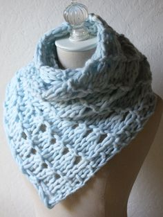 Knitting Pattern for Quick Versatile Urbana Cowl - Versatile eyelet lace cowl is a quick knit in super bulky yarn and can be worn in limitless ways, including cowl, neckwarmer, wrap, scarf, ascot.