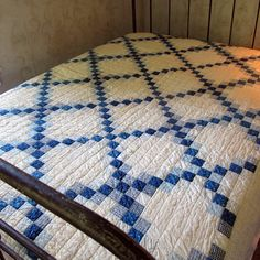 Blue and White Quilt- Irish chain- classic