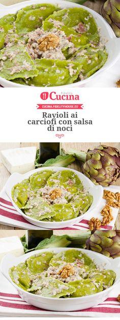 Ravioli ai carciofi con salsa di noci Wine Recipes, Pasta Recipes, Cooking Recipes, Healthy Recipes, Gnocchi Pasta, Pasta Maker, Vegan Pasta, Homemade Pasta, Relleno