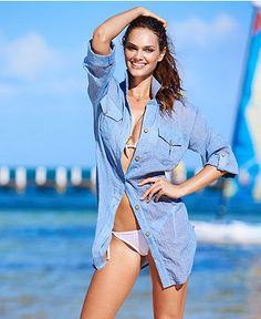 Dotti Cover Up, Long-Sleeve Chambray Top - Swimwear - Women - Macy's