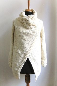 hand knit cardigan RIONA chunky coat cream sweater wool and silk ivory...//md