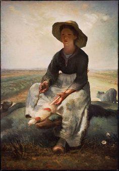 Jean-François Millet, Young Shepherdess, c. 1870-73  ArtExperienceNYC   www.artexperiencenyc.com