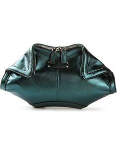 Clutch verde metallizzato Alexander McQueen