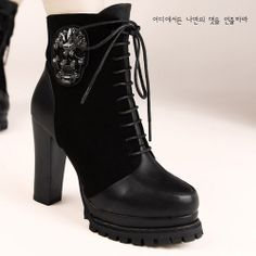 X57131 Kvoll Splicing Lacing Skull Rhinestone Side Zipper High-heeled Short Boots Black [X57131] - $29.75 : China,Korean,Japan Fashion clothing wholesale and Dropship online-Be the most beautiful Lady