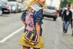 Wow love this look- Street Style At Milan Fashion Week Spring/Summer 2014 / Photography By NAM Milano Fashion Week, Summer Fashion Trends, Milan Fashion, Street Fashion, Pop Art Fashion, Fashion Show, Mode Pop, Estilo Pin Up, Look Street Style