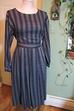 vintage CALVIN KLEIN separate MIDI DRESS skirt/blouse 6/8 Medium menswear stripe