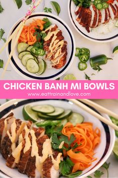 These Chicken Banh MI Bowls are an amazing spin on this classic Vietnamese sandwich that makes a healthy, clean and easy to make meal for any day of the week. This recipe is perfect to meal prep for a light, clean and delicious dinner! Healthy Eating Recipes, Healthy Chicken Recipes, Asian Recipes, Vegetarian Recipes, Healthy Food, Yummy Food, Clean And Delicious, Food Bowl, Vietnamese Sandwich