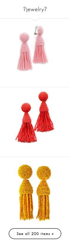 """""""✧jewelry✧"""" by marcellamic ❤ liked on Polyvore featuring jewelry, earrings, azalea, beaded earrings, oscar de la renta earrings, tassle earrings, beads jewellery, fringe tassel earrings, beading earrings and oscar de la renta jewelry"""