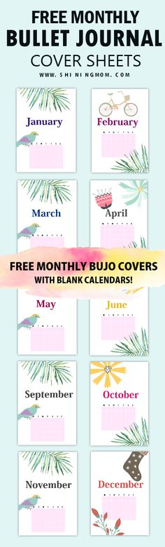 Check out this free printable monthly bullet journal cover pages and use them for FREE! Get yours today! #bulletjournal #planners #printables #shiningmomplanners